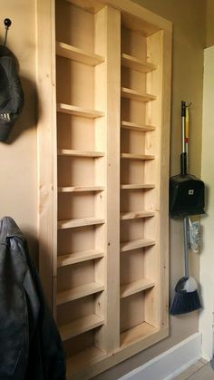 Home Improvement 475059460690851134 - Pantry between the studs – Are you short on kitchen storage? This DIY Pantry Between the Studs adds TONS of useful storage and it's not hard to make. Source by easeyourasthmatips Built In Pantry, Kitchen Pantry Storage, Laundry Room Storage, Kitchen Shelves, Diy Storage, Storage Ideas, Wall Pantry, Extra Storage, Laundry Rooms