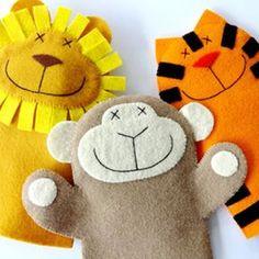 Lion, Monkey, & Tiger Felt Hand Puppets E-Pattern