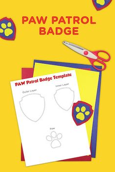 If your preschooler is obsessed with PAW Patrol and all that the PAW Patrol badge stands for, make them a PAWsome badge of their very own! Print, color, cut, and create a PAWsome badge of honor out of these printable PAW Patrol badge templates. Insignia De Paw Patrol, Paw Patrol Badge, Paw Patrol Gifts, Paw Patrol Birthday Theme, Paw Patrol Party, 4th Birthday Parties, Boy Birthday, Birthday Ideas, Cumple Paw Patrol