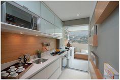 Cozinha Corredor de Apartamento Pequeno Decorada #cozinha #cozinhacorredor