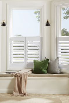 Shutters With Curtains, White Shutters, Interior Window Shutters, Contemporary Shutters, Cafe Style Shutters, White Cafe, Shutter Doors, Curtain Ideas, Formal Living Rooms