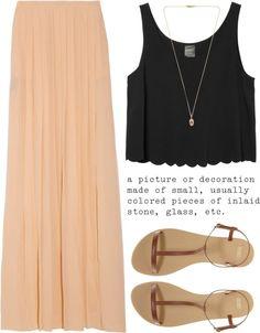 Tan Maxi Skirt And Black Crop Top