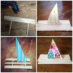 Me and my shadow: Sailing down the river - lolly stick boats