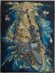 "Painting + Soutache necklace ""Spirito Libero"""
