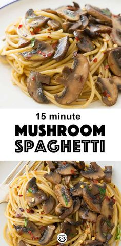 Feb 2020 - Everyone needs a good garlic mushroom pasta recipe in their back pocket, it's a perfect quick and easy dinner recipe. Plus, It's packed with BIG flavor and boosts your mood at the end of the day. Spaghetti Recipes, Pasta Recipes, Cooking Recipes, Noodle Recipes, Kitchen Recipes, Meat Recipes, Chicken Recipes, Garlic Mushrooms, Stuffed Mushrooms