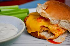Buffalo Chicken Burgers, oh my goodness .... this looks awesome