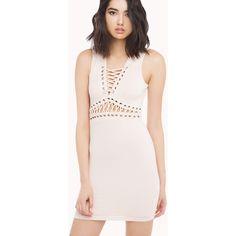 AKIRA Sleeveless Lace And Eyelet Dress- Blush ($50) ❤ liked on Polyvore featuring dresses, blush, pink v neck dress, lace dress, v-neck dresses, v neck dress and lace up dress
