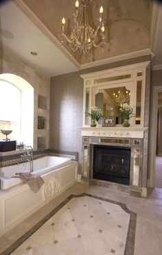 Fireplace next to bath