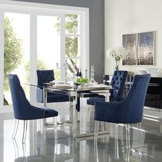 Appropriate for Sunday brunch or family meals, these Velvet Dining Chairs by Inspired Home are amazing for any home. Ideal for casual dining, these full back, medium cushion dining chairs bring a comfortable and stylish design to any dining roo Tufted Dining Chairs, Dining Chair Set, Dining Room Furniture, Home Furniture, Rattan Chairs, Lounge Chairs, Side Chairs, Navy Blue Dining Chairs, Dinner Chairs
