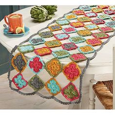 Ravelry: Motif Table Runner pattern by Carrie CarpenterAvailable was a kit from Willow Yarns or HerrschnersPinned onto Cute Crochet Stuff Board in Crocheting Category Nice pattern, but could use any motif. Crochet Doily Rug, Crochet Home, Crochet Gifts, Crochet Yarn, Crochet Flowers, Crochet Stitch, Crochet Table Runner, Table Runner Pattern, Carrie