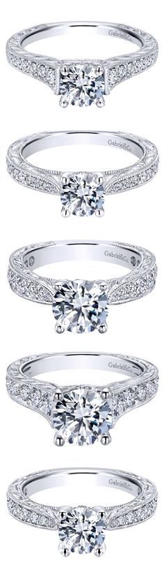 From the Gabriel Bridal Collection, 14k White Gold Victorian Straight Engagement Rings. Find your perfect ring at Gabriel & Co.