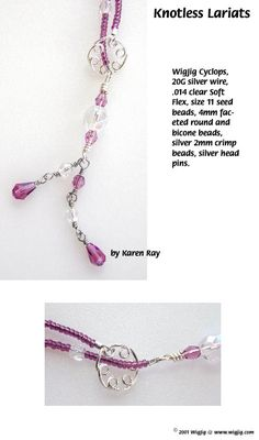 Knotless Wire and Beads Lariat Jewelry Making Project made with WigJig tools and jewelry supplies