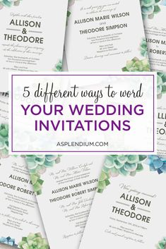 Wedding invitation wording five different ways. From the most complicated to the simple daytime wedding. Wedding Invitation Wording Examples, Shine Wedding Invitations, Glitter Invitations, Photo Wedding Invitations, Watercolor Wedding Invitations, Wedding Invitation Design, Wedding Stationery, Party Invitations, Wedding Wording