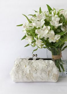 Bridal Clutch with Flower Vine Lace in Ivory 8-inches by ANGEEW