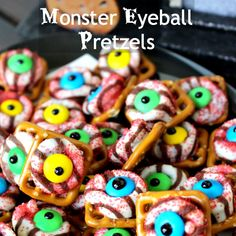 monster eyeball pretzels...it calls for using an oven, but I'm sure that it could be adapted to a microwave.