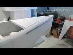 Made from EPS foam ( sq ft). Surfaces are 2 layers laminated together using Great Stuff spray foam and low temp hot glue. How To Build Abs, Build Your Own Boat, Boat Building Plans, Boat Plans, Simple Boat, Carpentry Skills, Hobby Kits, Boat Kits, Pontoon Boat