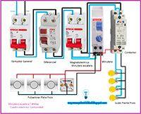 Esquemas eléctricos: Minutero 4 hilos con contactor monofásico.