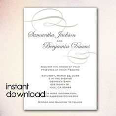 DIY Wedding Invitation Template - Instant Download Microsoft Word version - Gray Elegant Swirl IN1025