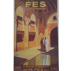 Vintage poster Fes #retro #deco - Maroc Désert Expérience tours http://www.marocdesertexperience.com