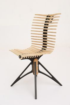 The chair is made of plywood and has a custom ergonomic scheme.Due to the fact that each lamella is rotated aroundthe axis of the central ridge man constantly changes position,which is beneficial to health.