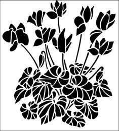 Cyclamen stencil from The Stencil Library GARDEN ROOM range. Buy stencils online. Stencil code GR37.