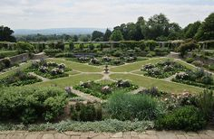 Grand 'X' of lawns converging on a central fountain (Formal garden at Hestercombe    Designed by Gertrude Jekyll and Sir Edwin Lutyens).