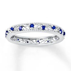 Stackable Ring Lab-Created Sapphires Sterling Silver