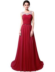 Clearbridal Womens Long Wedding Party Red Bridesmaid Dress CSD184RDUS14 -- Continue to the product at the image link.