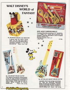 "Carnival ""Mickey Mouse"" musical instruments (Mickey Mouse in the Music Box, regular and deluxe Mickey Mouse guitars and Mickey's Marching Band set)"