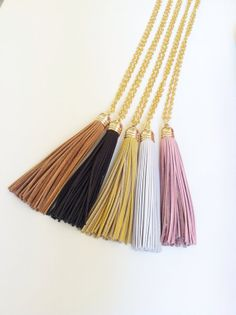 Leather Tassel Necklace on a shiny light gold chain - Camel, Black, Yellow, White or Pink. on Etsy, $27.00