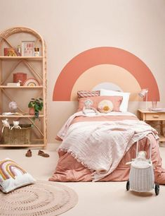 Jan 2020 - Perfect for a kids room, this sweet painting hack is the ideal substitute for a headboard. Any shape works, we've gone for a peachy coloured rainbow. Bedroom Wall, Girls Bedroom, Bedroom Decor, Kid Bedrooms, Easy Painting Projects, Painted Headboard, Big Girl Rooms, New Room, Interior Design