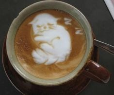 Latte Art with kitty cat