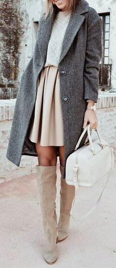 #winter #outfits brown crew-neck undershirt, with brown skirt, gray 2-button coat, and pair of brown leather knee-high boots outfit