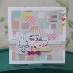 Geometric Neon birthday cake card   docrafts.com