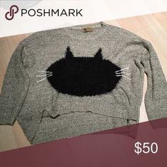 LF Katsumi Cat Sweater M/L Cute LF cat sweater. EUC. Worn once. High low. Super cute. Acrylic LF Sweaters Crew & Scoop Necks