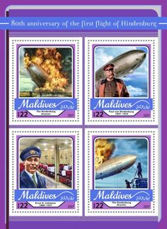 anniversary of the first flight of Hindenburg (The Hindenburg disaster; Paul von Hindenburg Ernst A. Maldives, The One, Stamps, Anniversary, Postage Stamps, The Maldives, Seals
