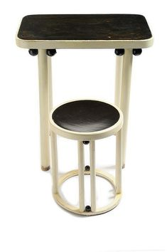 Rare table and stool by Josef Hoffmann for JJ Kohn