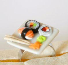Sushi Platte verstellbaren ring Puppenhaus Essen Fimo von Zoozim