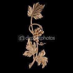 3D набор древней золотой узор на черном фоне — стоковое изображение #89214202