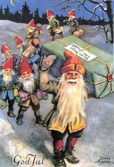 Gnomes elves helping Santa out for Christmas Eve!