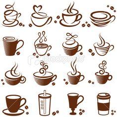 muchos coffes. siluetas