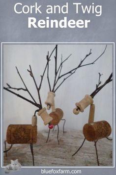 Cork and Twig Reindeer for Primitive Christmas Decor Christmas Deer, Primitive Christmas, Rustic Christmas, Garden Junk, Garden Art, Fox Farm, Twig Art, Reindeer Ornaments, Rustic Crafts