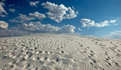 The bright white dunes of White Sands. Enticing, but instantly dehydrating. Take plenty of water.