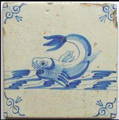 Antieke tegel vis, ca 1640