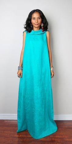 Aqua Dress with Hood / Sleeveless Summer Dress/ Long Dress / Aqua Linen Dress  : The Soul of the Orient Collection No.4