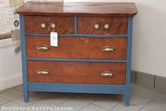 Good idea for pop of color + original wood together  A Chest of Drawers - Southern Revivals