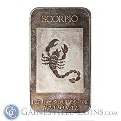 Scorpio the Scorpion 1 oz Pure Solid Copper Zodiac Round with Gift Bag
