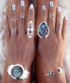 bohemian silver rings, Bohemian fashion jewelry http://www.justtrendygirls.com/bohemian-fashion-jewelry/