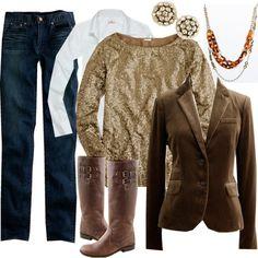 blazer + sparkle shirt + boots...  love!