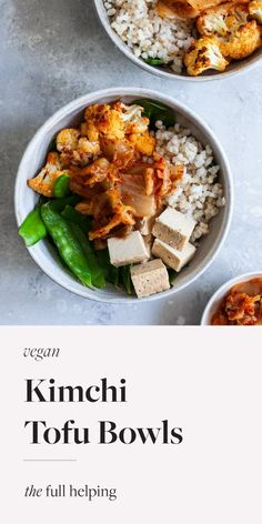 These chili roasted cauliflower, brown rice & kimchi bowls are balanced & nutritious. Featuring vegan kimchi and spicy cauliflower florets! Plus, tofu for tons of plant protein. #plantbased #glutenfree #vegan Tofu Recipes, Salad Recipes, Healthy Recipes, Healthy Food, Spicy Roasted Cauliflower, Baked Tofu, Vegetarian Comfort Food, Comfort Foods, Kimchi Rice
